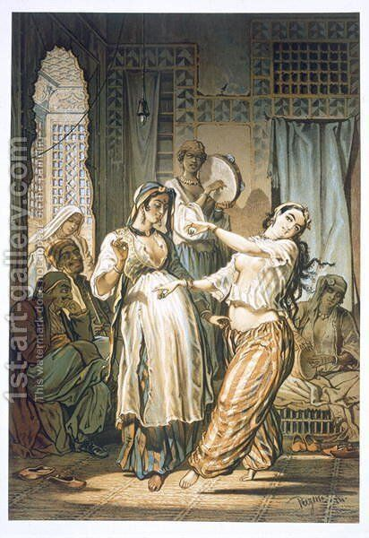 Egyptian Belly Dancer, from Souvenir of Cairo, 1862 by Amadeo Preziosi - Reproduction Oil Painting
