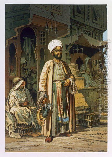 The Barber, from Souvenir of Cairo, 1862 by Amadeo Preziosi - Reproduction Oil Painting