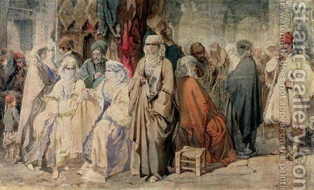 Figures in the Bazaar, Constantinople by Amadeo Preziosi - Reproduction Oil Painting