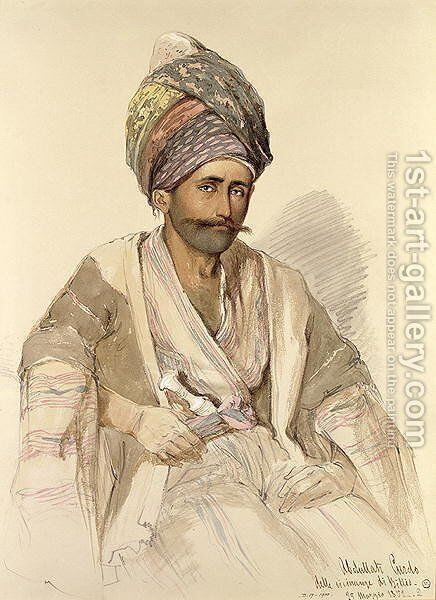 Abdullah - Kurd from Bitlis, 1852 by Amadeo Preziosi - Reproduction Oil Painting