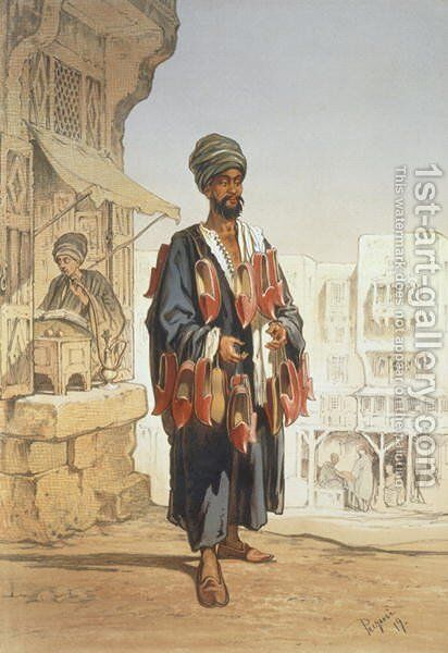 The Slipper Seller, from Souvenir of Cairo, 1862 by Amadeo Preziosi - Reproduction Oil Painting