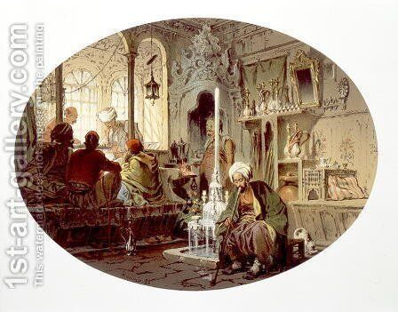 Ottoman Coffee House, 1862 by Amadeo Preziosi - Reproduction Oil Painting
