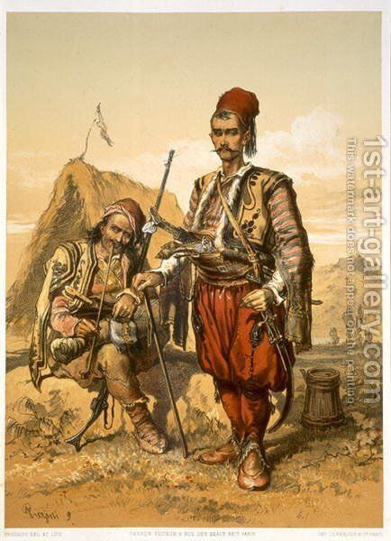 Turkish foot soldiers in the Ottoman army, pub. by Lemercier, c.1857 by Amadeo Preziosi - Reproduction Oil Painting