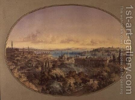 View of Constantinople from Galata looking towards the Golden Horn and the Bosphorus by Amadeo Preziosi - Reproduction Oil Painting