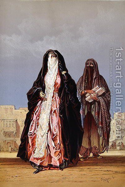 Veiled women, from Souvenir of Cairo, 1862 by Amadeo Preziosi - Reproduction Oil Painting