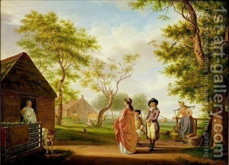 Visit to the Country Dairy by Johan Prey - Reproduction Oil Painting