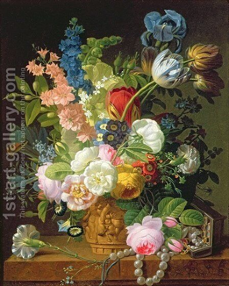 Still Life with Flowers by Jean-Louis Prevost - Reproduction Oil Painting