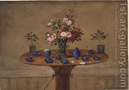 Still life with a vase of flowers and a tea service, 1810 by Jean-Louis Prevost - Reproduction Oil Painting