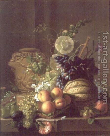A Still Life of a Melon, Peaches, Figs, Plums, Grapes and Other Fruit on a Marble Ledge by Jean-Louis Prevost - Reproduction Oil Painting