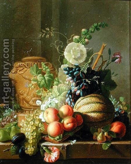 Still Life with Fruit on a Ledge by Jean-Louis Prevost - Reproduction Oil Painting