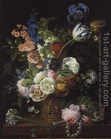 A Still Life of Roses, Tulips, Carnations, Stocks and Other Flowers in a Decorative Urn, Resting on a Stone Ledge by Jean-Louis Prevost - Reproduction Oil Painting