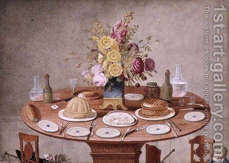 Still Life with a Vase of Flowers on a Table Set for a Meal, c.1810 by Jean-Louis Prevost - Reproduction Oil Painting