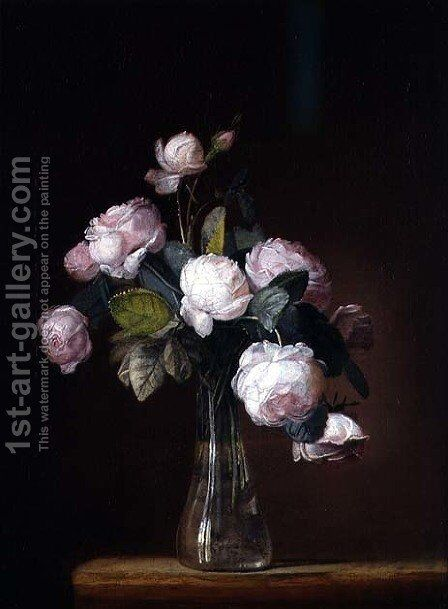 Roses on a Stone Ledge by Jean-Louis Prevost - Reproduction Oil Painting