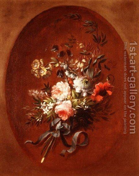 Bouquet of roses, poppies and other flowers by Jean-Louis Prevost - Reproduction Oil Painting