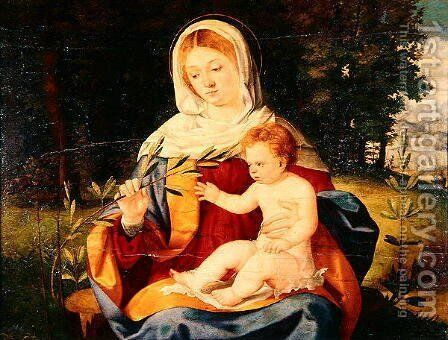 The Vigin and Child with a shoot of Olive, c.1515 by Andrea Previtali - Reproduction Oil Painting