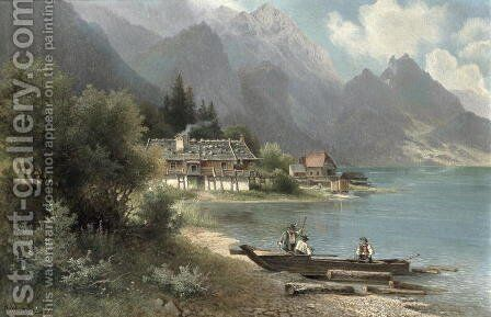 Landscape at Lake Kochelsee, Bavaria by Carl Prestel - Reproduction Oil Painting