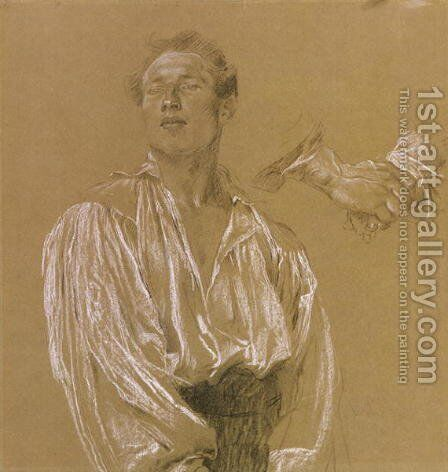 Portrait study of a man in a white shirt by Jan Preisler - Reproduction Oil Painting