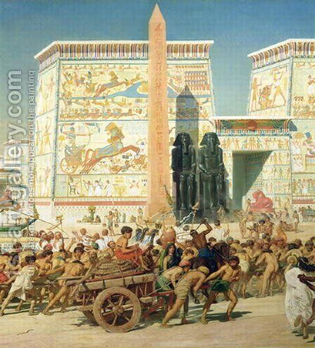 Wagon and Pylon, detail from Israel in Egypt by Sir Edward John Poynter - Reproduction Oil Painting