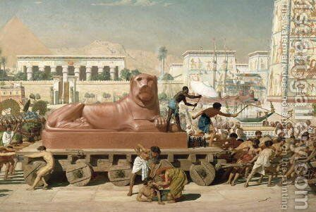 Statue of Sekhmet being transported, detail of Israel in Egypt, 1867 by Sir Edward John Poynter - Reproduction Oil Painting