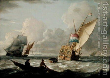 A Dutch Admiralty Yacht and other Shipping by Charles Martin Powell - Reproduction Oil Painting