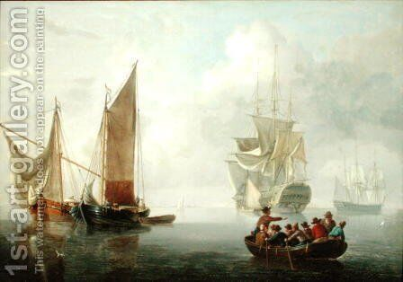 Becalmed off a Dutch Coastline by Charles Martin Powell - Reproduction Oil Painting