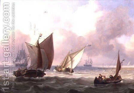 Dutch Pinks in a Swell off a Jetty by Charles Martin Powell - Reproduction Oil Painting