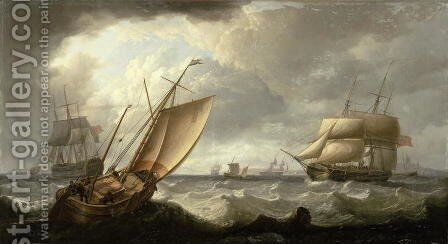Dutch Galliot and English shipping off Penzance by Charles Martin Powell - Reproduction Oil Painting