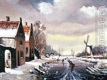 Skating in Winter by Johann Pottgiesser - Reproduction Oil Painting