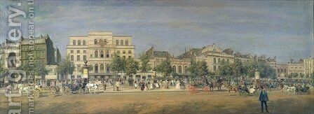 Panorama of Le Boulevard du Temple and its several theatres, c.1860 by Adolphe Martial Potemont - Reproduction Oil Painting