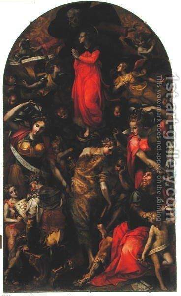 Dispute over the Immaculate Conception by Carlo Portelli da Loro - Reproduction Oil Painting