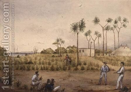Portable observatory at Cape Upstart, Australia, 1843 by Edwin Augustus Porcher - Reproduction Oil Painting