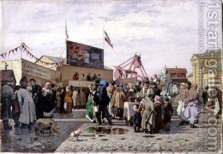 A Fair at Tula in Holy Week, 1873 by Andrei Andreevich Popov - Reproduction Oil Painting