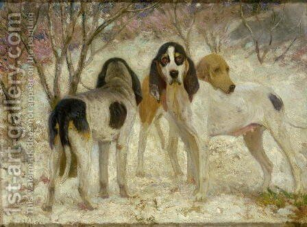 Vrelay-Old English Stag Hounds by Henry Rankin Poore - Reproduction Oil Painting