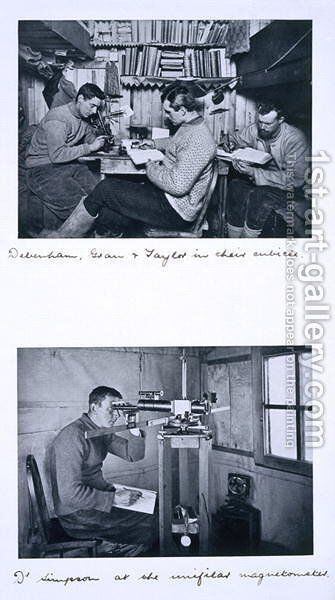 Top Debenham, Gran and Taylor in their cubicle. Bottom Dr Simpson at the unifilar magnetometer. Scotts Last Expedition, Winter Journey, 27 June - 1 August 1911 by Herbert Ponting - Reproduction Oil Painting