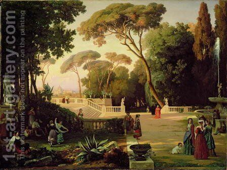 The Gardens of the Villa Doria Pamphili, Rome, 1844 by Antoine Ponthus-Cinier - Reproduction Oil Painting