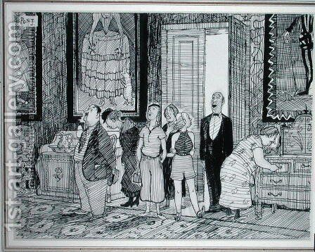 The British Character keen interest in historic houses, illustration from Punch, published 8th July 1936 by Graham Laidler Pont - Reproduction Oil Painting