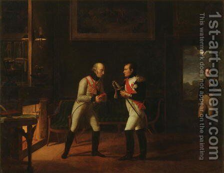 Meeting of Napoleon Bonaparte 1769-1821 and Archduke Charles 1771-1847 of Austria at Stammersdorf, 17th December 1808 by Marie Nicolas Ponce-Camus - Reproduction Oil Painting