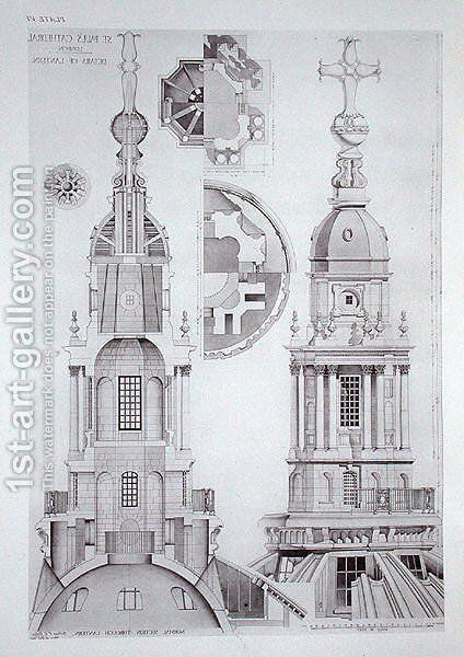 Drawings of the lantern of St. Pauls Cathedral, for St. Pauls Cathedral, London, Measured, Drawn and Described, published 1927 by Arthur F. E. Poley - Reproduction Oil Painting