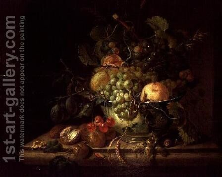 Still Life with fruit, nuts, snail by Christiaan van Pol - Reproduction Oil Painting