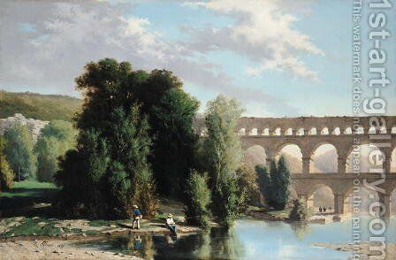 View of the Pont du Gard, 1859 by Henri Marie Poinsot - Reproduction Oil Painting