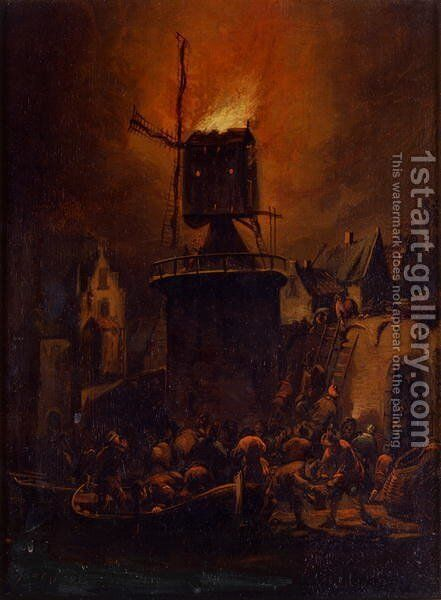 The Burning Windmill, 1662 by Adriaen Lievensz van der Poel - Reproduction Oil Painting