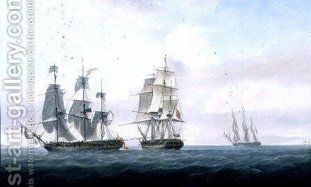 The Spanish frigate La Fama having outsailed the Medusa engages with and surrenders to H.M.S. Lively, c.1806 by Nicholas Pocock - Reproduction Oil Painting