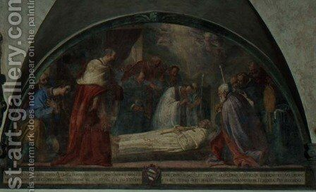 The Death of St. Antoninus, lunette by Bernardino Barbatelli Poccetti - Reproduction Oil Painting