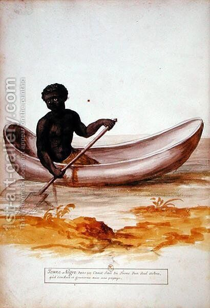 Young negro in a canoe in the Caribbean, from a manuscript on plants and civilization in the Antilles, c.1686 by Charles Plumier - Reproduction Oil Painting