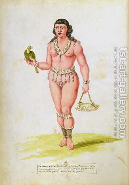 Native of the Caribbean with a parrot, from a manuscript on plants and civilization in the Antilles, c.1686 by Charles Plumier - Reproduction Oil Painting
