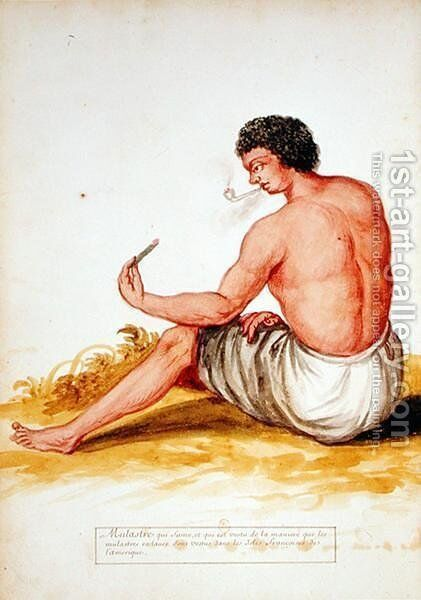 Mulatto sitting and smoking, from a manuscript on plants and civilization in the Antilles, c.1686 by Charles Plumier - Reproduction Oil Painting