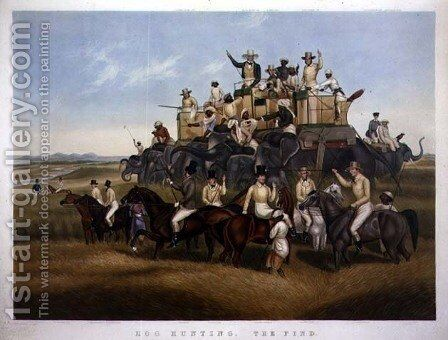 Hog Hunting The Find, engraved and pub. by Messrs Fores, c.1840 by (after) Platt, Captain John - Reproduction Oil Painting