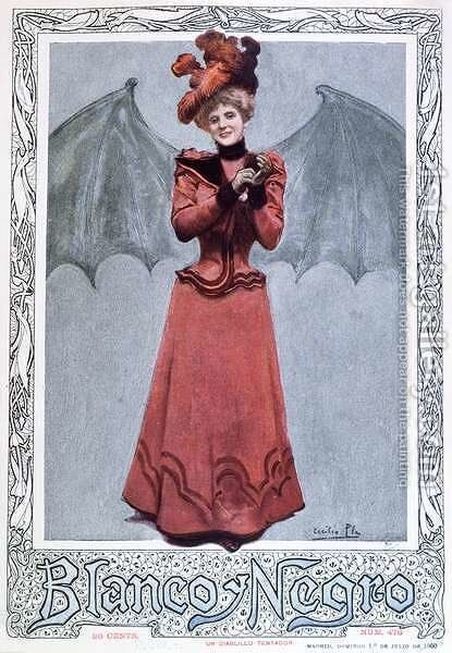 The Devilish Temptress, from the front cover of Blanco y Negro magazine, 1st July 1900 by Cecillio Pla Y Gallardo - Reproduction Oil Painting