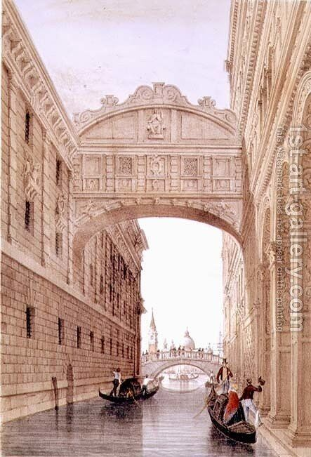 The Bridge of Sighs, Venice, engraved by Lefevre by (after) Pividor, Giovanni - Reproduction Oil Painting