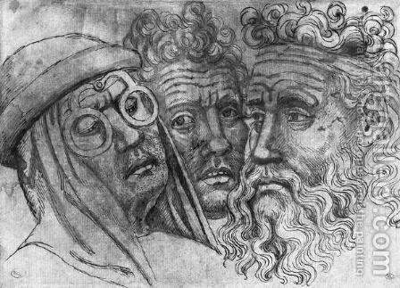 Heads of three men, from the The Vallardi Album by Antonio Pisano (Pisanello) - Reproduction Oil Painting
